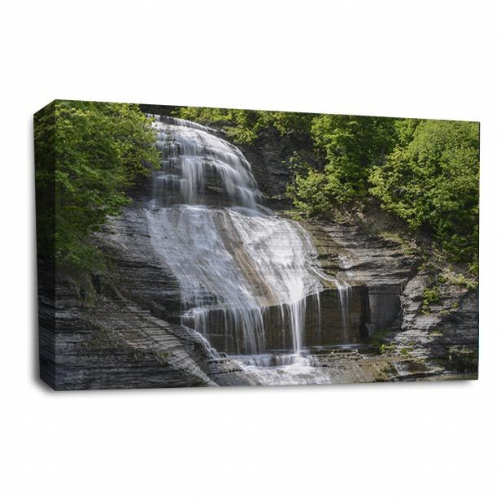 Waterfall Canvas Wall Art Picture Forest Wood Grey Black Print